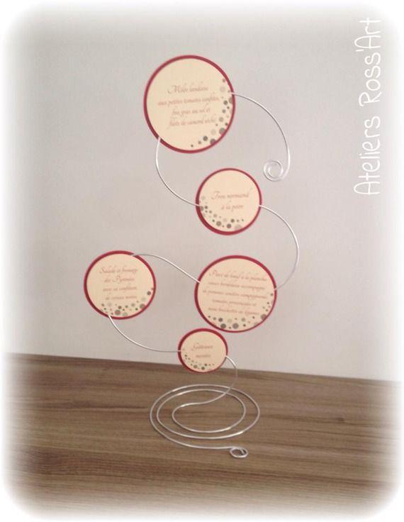 Menu mariage original fil aluminium bulle ivoir et bordeau