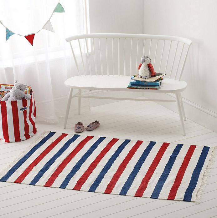 Image result for blue white red striped rug