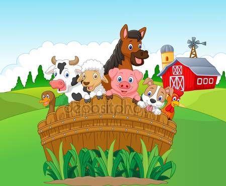 Dibujos animados de animales de la granja de colección — Vector de stock #75196781