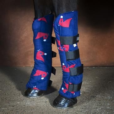 Fleece Shipping Or Stable Horse Boots - Blue Horse Heads from Snuggy Hoods USA