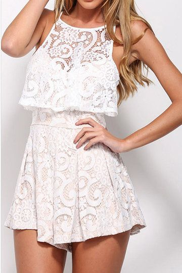 Give your favorite dress the night off and slip into this party playsuit for your next evening out. Super sexy hollow out to upper to highlight your well-rounded bust, lace bodice and soft cozy lining, and zip back closure.