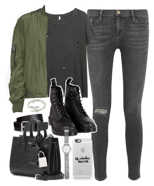 """Outfit with grey jeans and a khaki bomber jacket"" by ferned on Polyvore featuring Frame Denim, R13, Calvin Klein, H&M, Yves Saint Laurent, Dr. Martens, Witchery and Casetify"