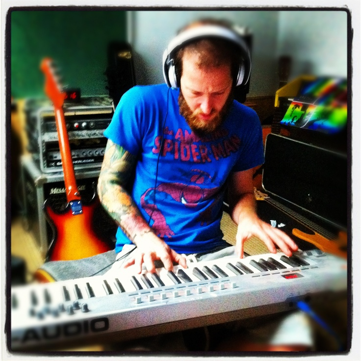 Marcus Fathmouth on the keyboard in the Uprightbrotha studio.