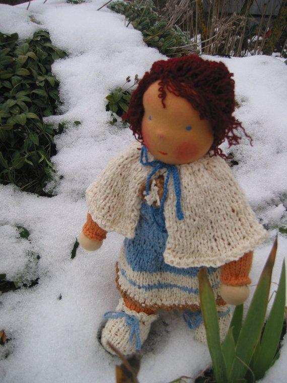 Waldorf type big haired girl doll by FeltingZsuska on Etsy
