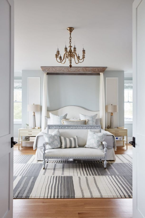 Master Bedroom Featuring Tuftex Carpet By Shaw Floors: Entry Of Master Bedroom Featuring Brass Hanging Ceiling