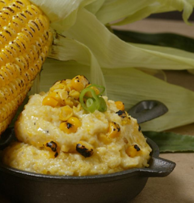 Zea Rotisserie: Grilled Corn Grits Recipe - This is the real deal…not a copycat recipe. It was featured in a WDSU cooking segment with one of the owner's of Zea's.   Ingredients:  2 cups chicken broth | 2 cups heavy cream | ¼ stick butter | 1 cup grilled corn | 1 cup yellow grits (not instant) | Green onions for garnish