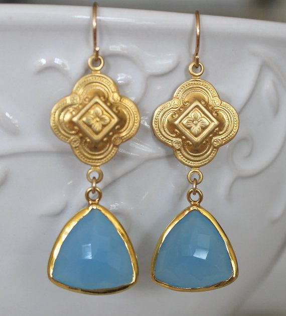 Earrings Blue Chalcedony trillion gemstone with vermeil by NHjewel, $56.00