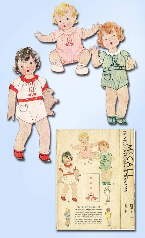 1930s Vintage Baby Boy or Girls Romper 1933 McCall Vtg Sewing Pattern 129 Size 2   eBay