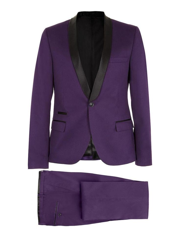 New Purple Suits For Men Black Satin Lapel ManWedding Groom Tuxedos Dinner Pop Mens Suits Prom Blazer (Jacket+Pants) Custom Made