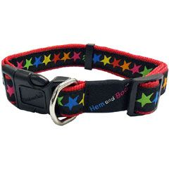 Hem and Boo Black Stars Dog Collar on Sale   Free UK Delivery