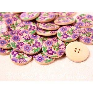 Botón de madera estampado floral lila y verde 30mm