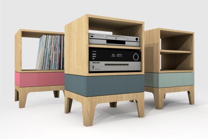 Eiken audiokastje met lade in kleur - KOBS www.kobsinterieur.nl Small oak audio closet with colored drawer