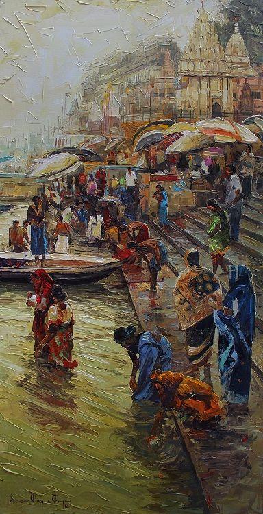 Iruvan Karunakaran (Indian) Varanasi - Acrylic