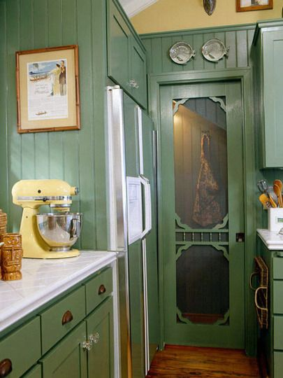 Screen door in a farmhouse kitchen.