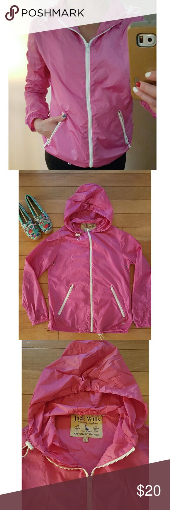 Jack Wills pink  rain jacket/wind breaker sz 2 Jack Wills pink hooded rain jacket/windbreaker.  Zipper front,  zip pockets, adjustable waist and hood. U.S sz 2 Worn only a couple times, like new.   Bundle with either turquoise Sperry or New Balance sneakers for extra savings (see separate listings) Jack Wills  Jackets & Coats
