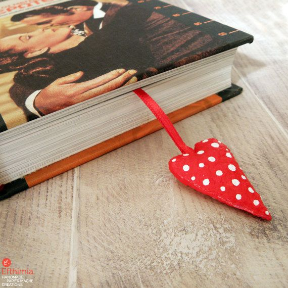 Papier mache red heart bookmarkred polka by EfthimiaPapierMache