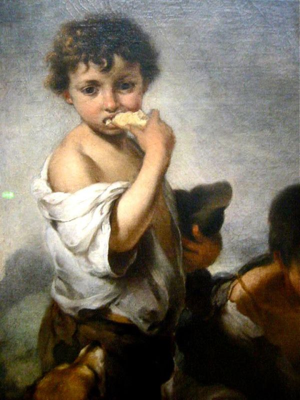 Young Boys Playing Dice, Detail; by Bartolomé Esteban Murillo, 1675