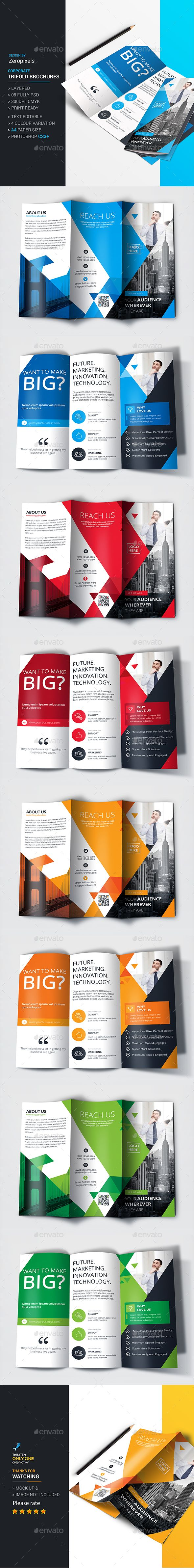 PSD Awesome Simple Trifold Brochure  Template • Only available here ➝ http://graphicriver.net/item/trifold-brochure-/16387166?ref=pxcr