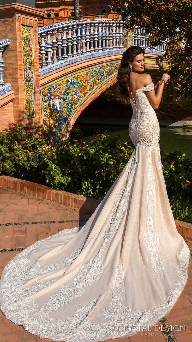 crystal design 2017 bridal off the shoulder semi sweetheart neckline full embelllishment elegant ivory color lace fit flare wedding dress chapel train (alexa) bv