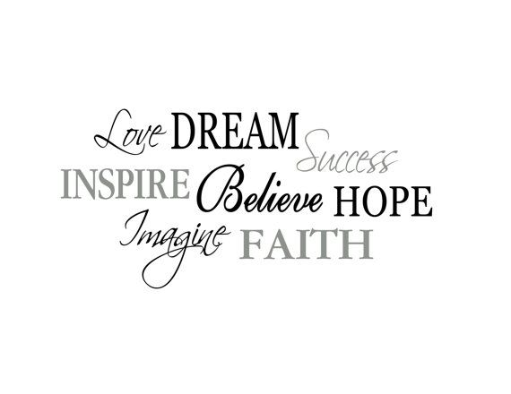 Word Collage - Love, Dream, Success, Inspire, Believe, Hope, Imagine, Faith-  Living Room Entry Way Viny Wall Decal