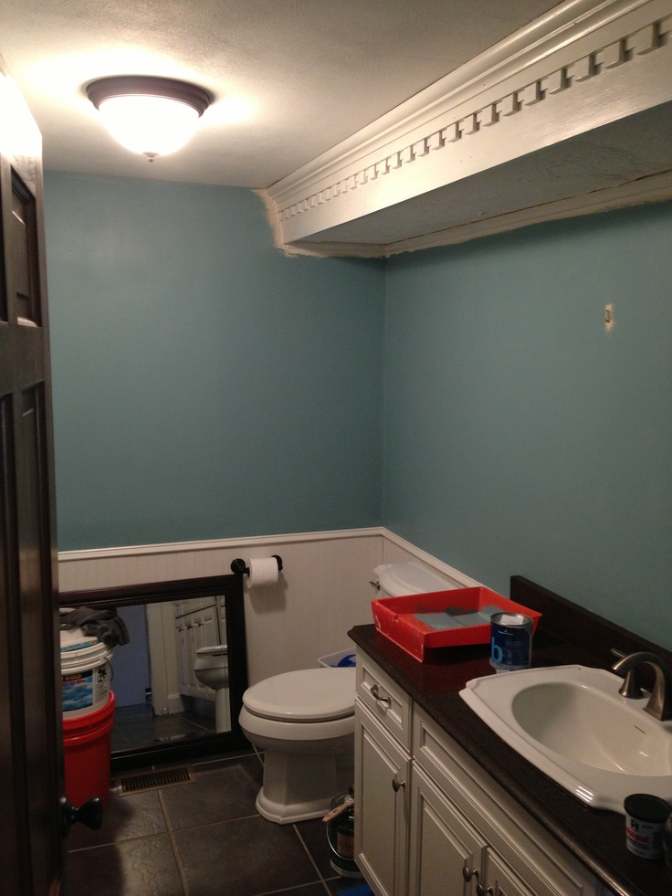Benjamin Moore Jamestown Blue On The Walls Bathroom In