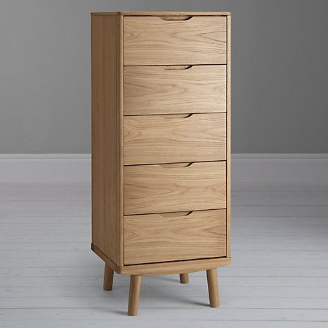 Buy House by John Lewis Bow 5 Drawer Tall Boy Chest, Oak Online at johnlewis.com
