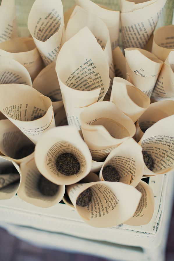 Paper Cones For A Wedding - filled with lavender buds. Great alternative to throwing rice.