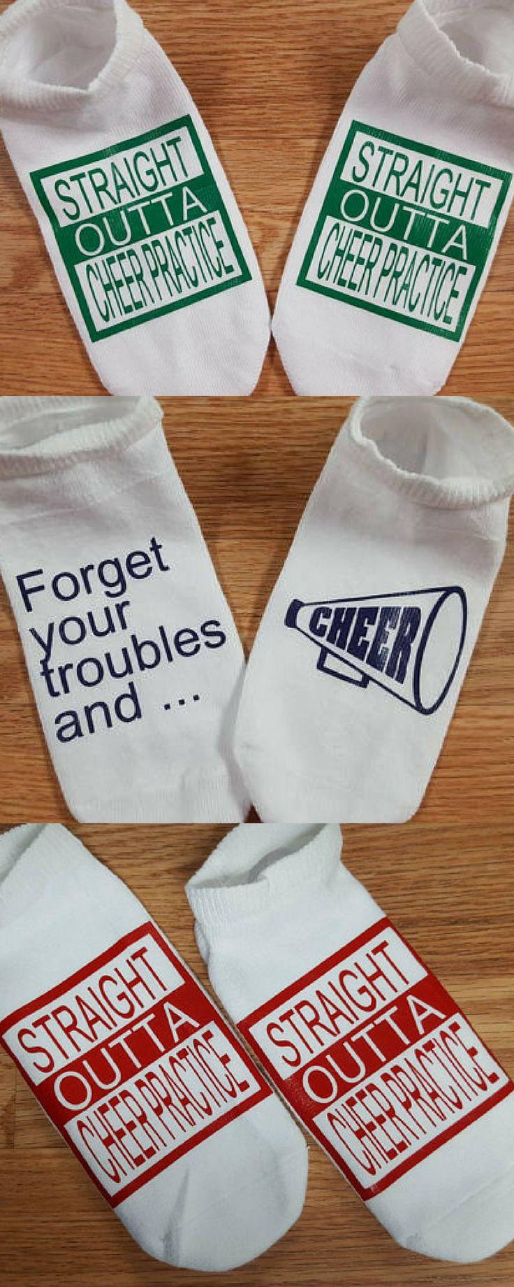 $6 custom cheer socks. Cheerleader gifts. Cheerleading practice socks. #cheerleading #ad