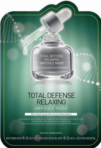 Touch Therapy Total Skin Defense Facial Ampoule Mask - Relaxing by Kwailnara. $29.99. Touch Therapy Total Defense masks promote circulation of dry and damaged skin, and provide a moisturizing effect to keep it moist and to recover damaged skin into the initial one.. 10 sheets in a package (25ml of each sheet). Substance which has a powerful effect on skin soothing calms down sensitive skin which is irritated and sensitive due to foreign environment.. Skin soothi...