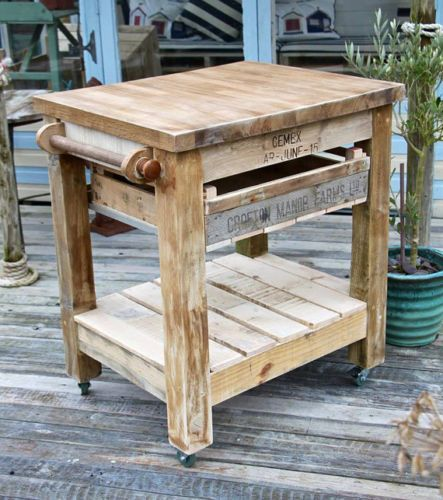 Handmade-Rustic-Farmhouse-Style-Reclaimed-Wood-Butchers-Block-Kitchen-Trolley