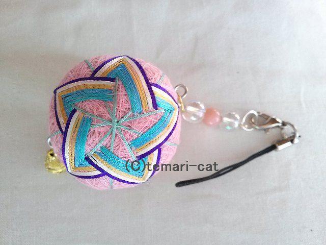 絹てまりストラップ「晴明桔梗」ピンク 手まり 手毬 手鞠