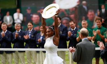 Congratulations Serena.!! LONDON, July 9 (Reuters) - It was third time lucky for American Serena Williams as she finally matched Steffi Graf's professional era record of 22 grand slam singles titles by beating Angelique Kerber to claim a seventh Wimbledon crown on Saturday.Serena Williams Wins 22nd Grand Slam Title. Williams beat Germany's Angelique Kerber 7-5 6-3 to claim a seventh Wimbledon singles title.