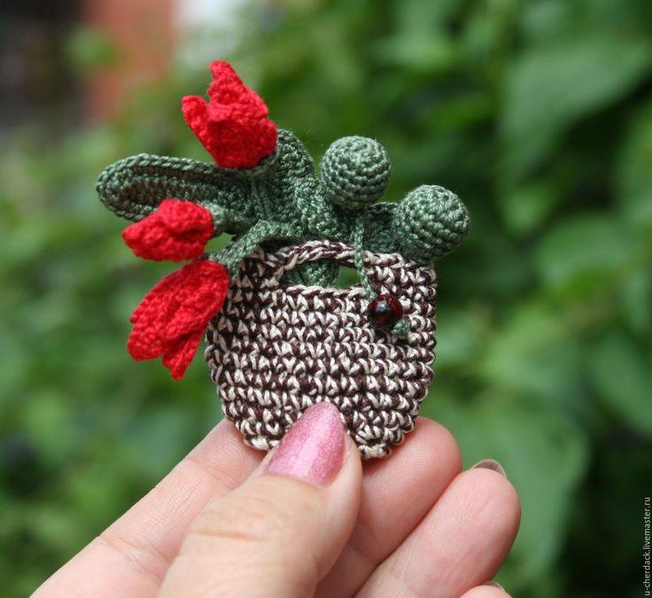 """Купить Брошь """"Тюльпаны"""" - комбинированный, брошь ручной работы, брошь цветок, Вязание крючком, тюльпаны"""