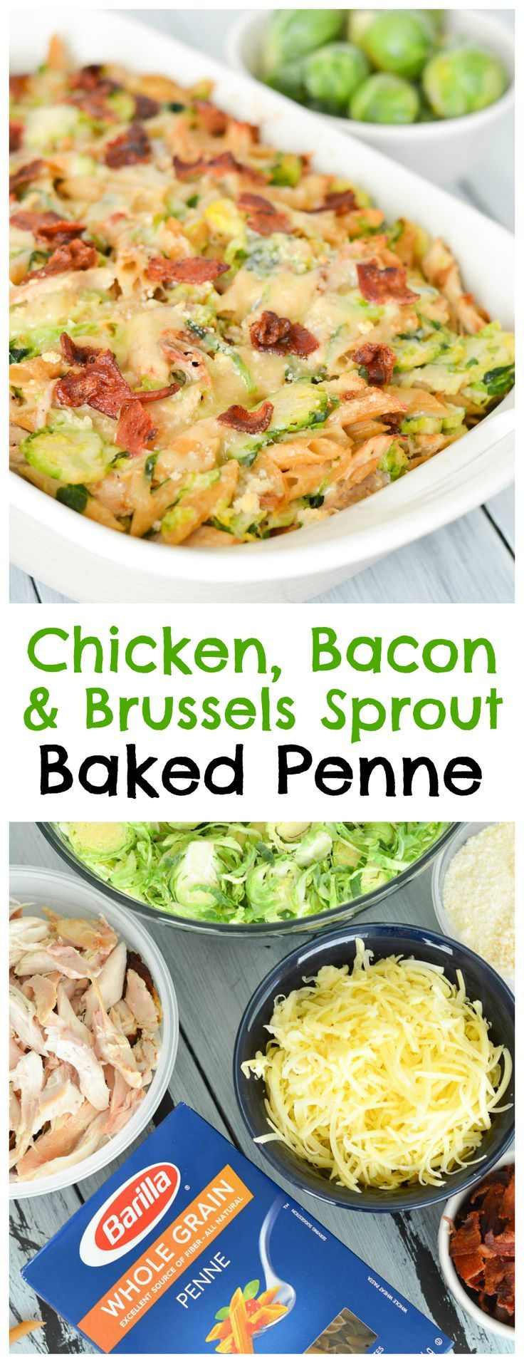 This Chicken, Bacon and Brussels Sprout Baked Penne is a cozy, comforting winter meal that's perfect for holiday get-togethers. Packed with whole grain penne, plenty of veggies and chicken, it'll fuel you up for the busy season ahead! #FamilyPastaTime #ad @BarillaUS