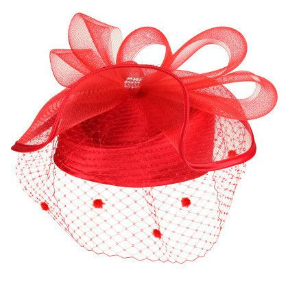 Loopy mesh bow on top with rhinestone. Netting veil. Adjustable drawstring inside. One size fits most.