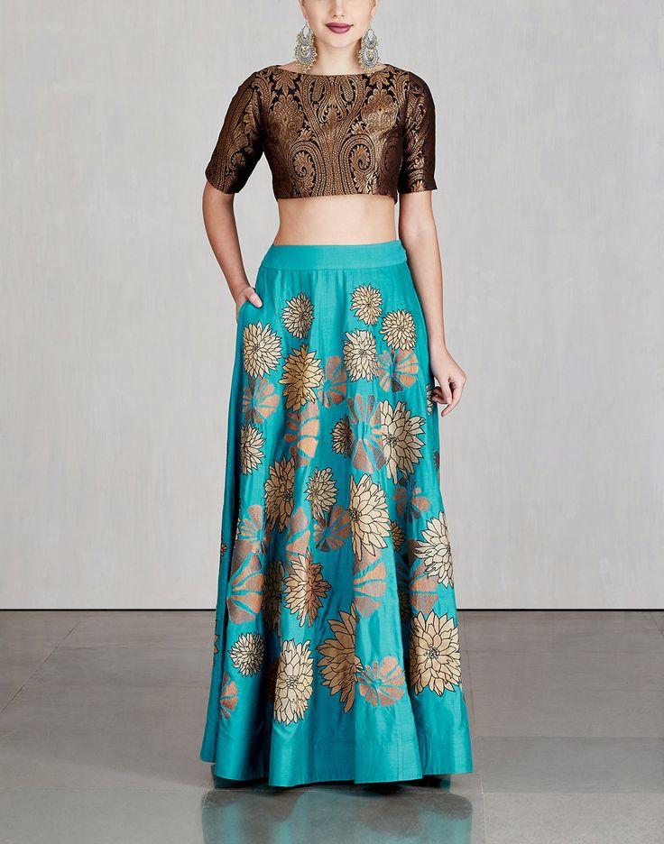 Aqua Blended Silk Skirt