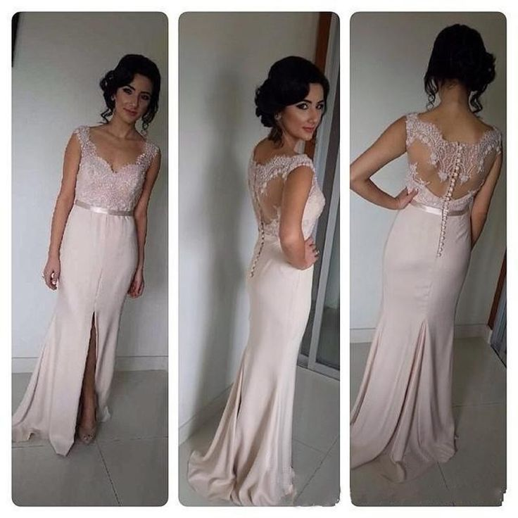 2015 Blush Bridesmaid Dresses Long Cheap Front Split V Neck Prom Dresses  Chiffon Party Formal Gowns Custom Made Zipper Back