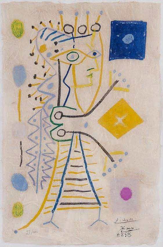 Pablo Picasso Jacqueline c.1958 Color Lithograph