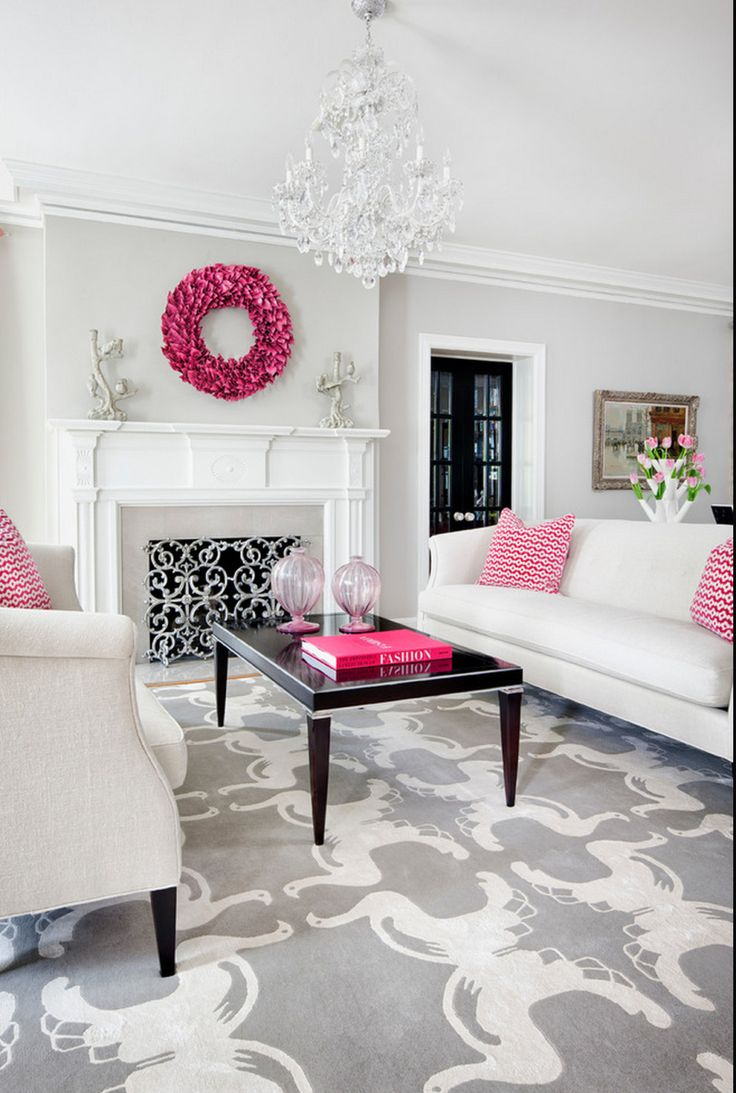 Traditional Decor white, grey and hot pink