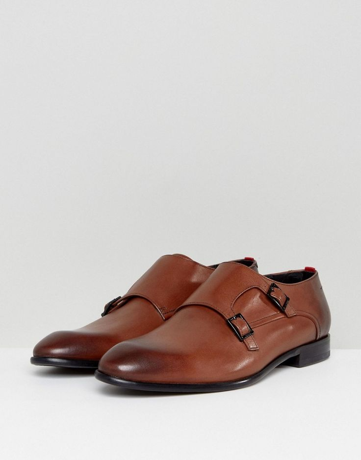 HUGO by Hugo Boss Dressapp Burnished Calf Leather Monk Shoes in Tan -