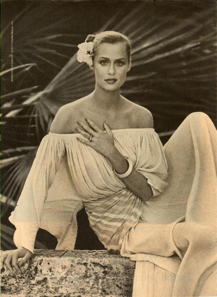 """Lauren Hutton (born November 17, 1943,  in Charleston, South Carolina) is an American model and actress, cover girl (appearing on the cover of American Vogue a record 26 times). In 1974, Hutton signed a million-dollar contract as the face of Revlon cosmetics.  She was presented on the November 1999 Millennium cover of American Vogue as one of the """"Modern Muses"""""""