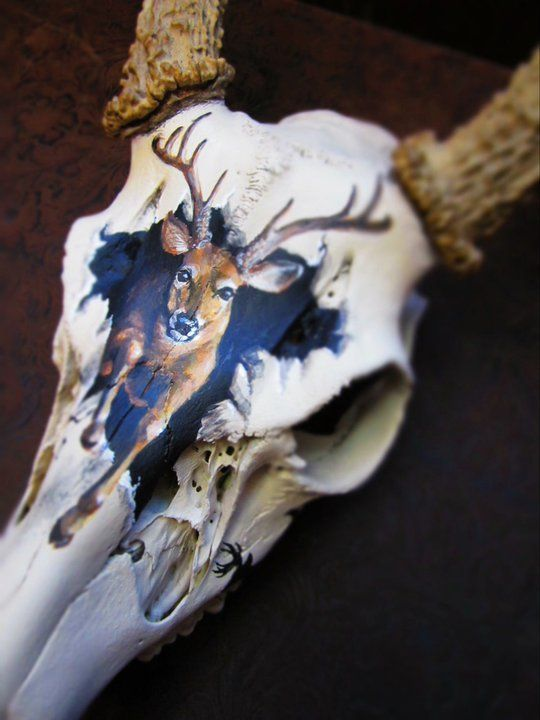 painted deer skulls | entire skull is painted with a bone colored paint to smooth things out ...