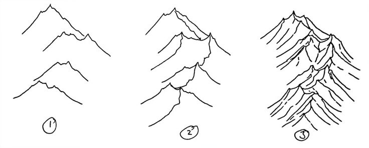 How to draw isometric hand drawn mountains