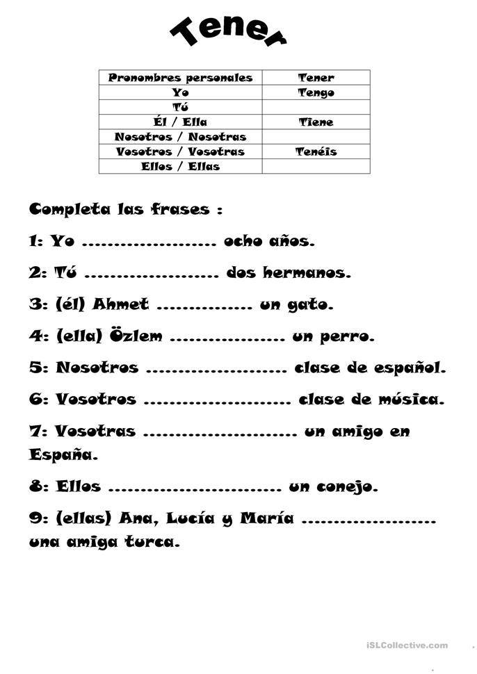 El Verbo Tener Verbo Tener Verbos En Espanol Ejercicios Para Aprender Español