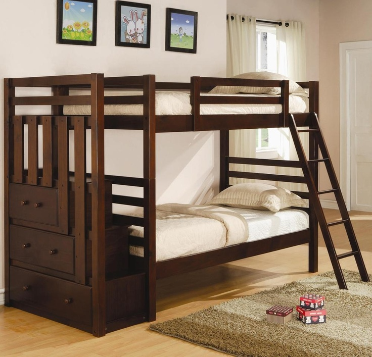 Solid Pine Espresso Twin Over Full Bunk Bed With Three Drawers