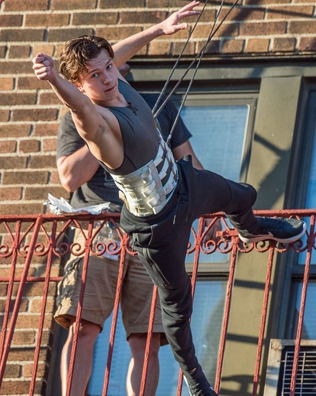 """Tom Holland on set of """"Spider-Man: Homecoming"""" in Queens, New York"""