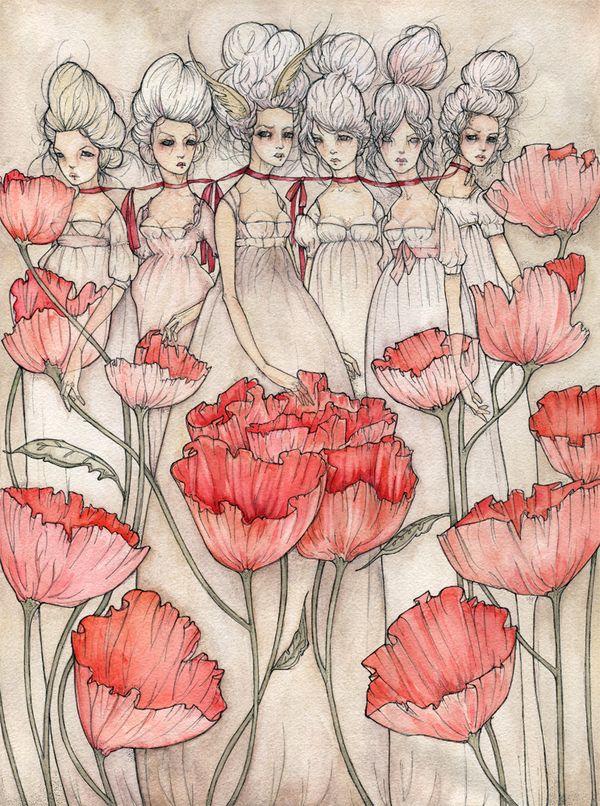 ink and watercolor by liz corbett