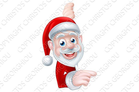 Santa Cartoon Graphics Cartoon Christmas Santa peeking around and pointing at a scroll, banner or sign by Christos Georghiou