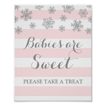 Babies are Sweet Sign Pink Stripes Silver Snow - light gifts template style unique special diy