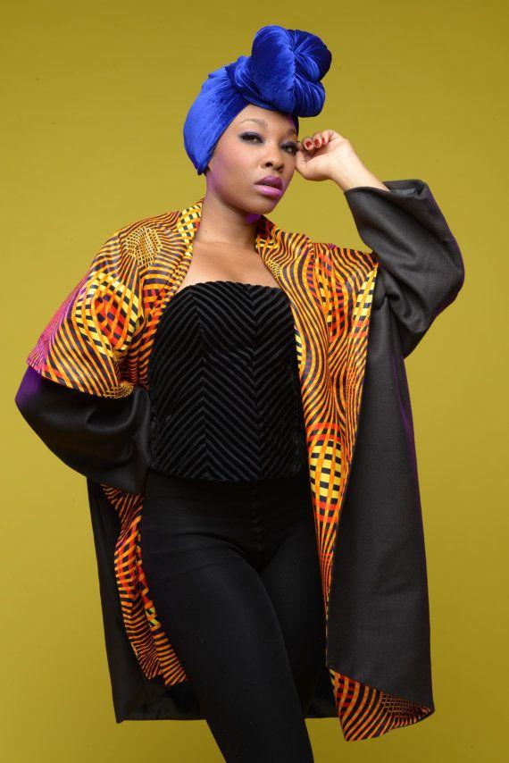 SUNSPLASH African print coat on NAVY wool by Gitas by GitasPortal ~African fashion, Ankara, kitenge, African women dresses, African prints, African men's fashion, Nigerian style, Ghanaian fashion ~DKK